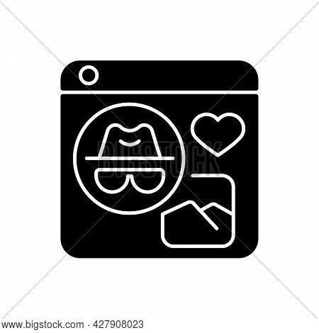Anonymous Social Media Black Glyph Icon. Sharing Content, Interacting With People Anonymously. Commu