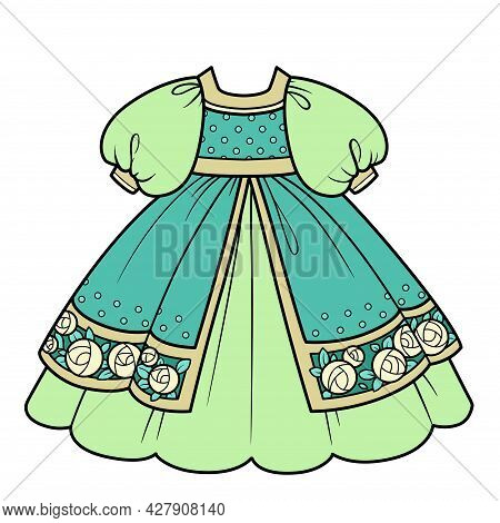 Green Ball Gown With Lush Skirt With Embroidered Roses For Princess Outfit Color Variation For Color