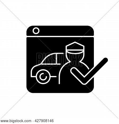 Ride-hailing Platforms Black Glyph Icon. Ridesharing Company. Hiring Driver Online. Connecting Drive
