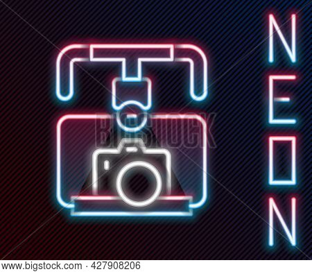 Glowing Neon Line Gimbal Stabilizer With Dslr Camera Icon Isolated On Black Background. Colorful Out