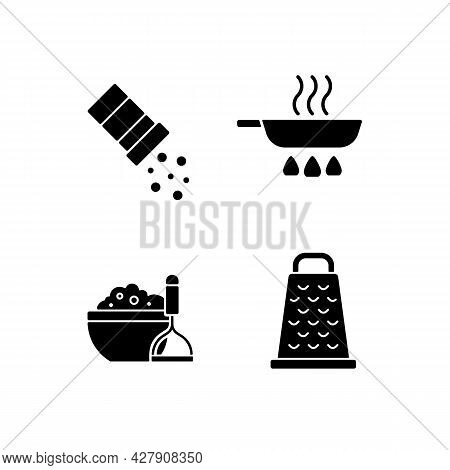 Home Cooking Black Glyph Icons Set On White Space. Sprinkle Salt. Frying Pan. Mash Potato. Grate For