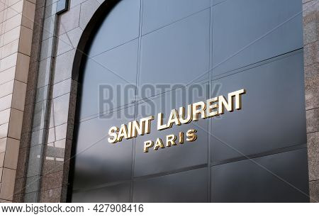 Kyiv, Ukraine - July 25, 2021. Saint Laurent Brand Name Above The Store Entrance.