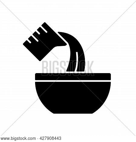 Pour Cooking Ingredient Black Glyph Icon. Adding Liquid To Bowl. Baking Process Step. Add Mixture. C