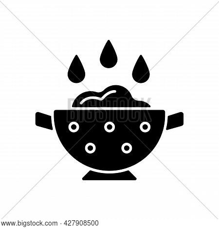 Rinse Cooking Ingredient Black Glyph Icon. Wash Rice On Bowl With Holes. Soaking Product As Cooking