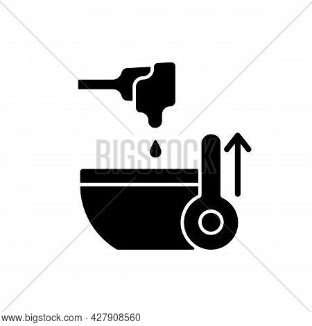 Melt Cooking Ingredient Black Glyph Icon. High Temperature For Preparing Frosting. Making Cream. Coo
