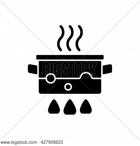 Boil For Cooking Black Glyph Icon. Simmering Water In Pot On Stove. Bubbling, Steaming Liquid. Cooki