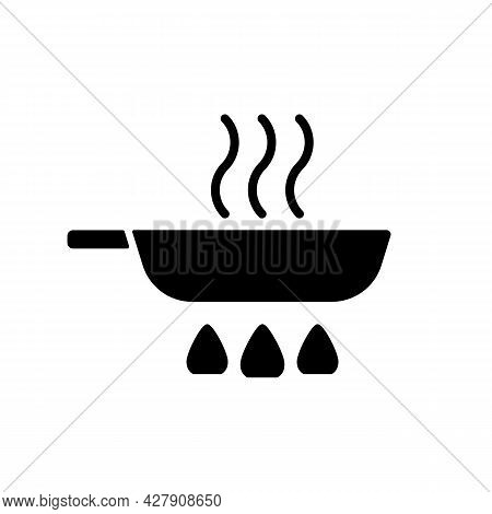 Fry Pan Black Glyph Icon. Roasting Ingredients For Dinner On Stove Flame. Stirring Process. Cooking