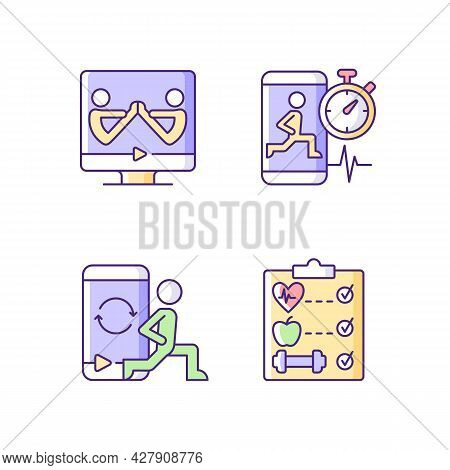 Online Fitness Wellness Programs Violet Rgb Color Icons Set. High Intensity And Intervals Workout. P