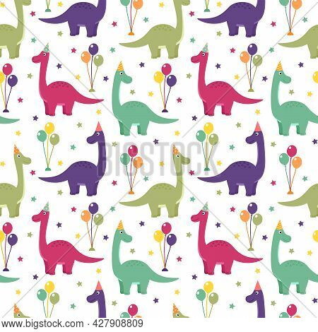 Seamless Pattern With Dinosaurs, Balloons And Stars, Vector Illustration