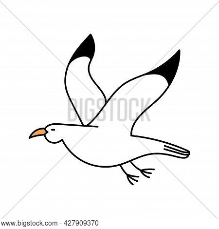 Cute Seagull In Doodle Style. White Bird. Simple Illustration Isolated On White Background. Summer I