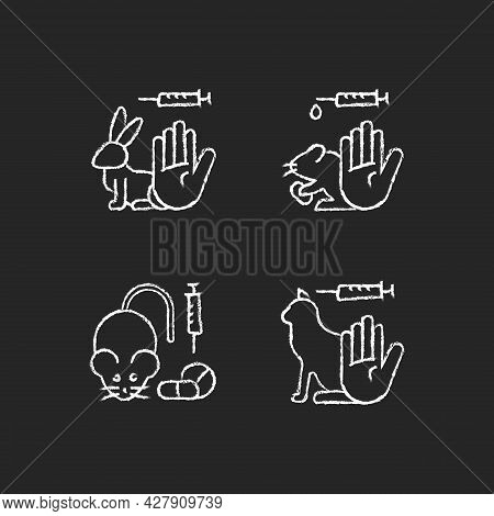 No Animal Cruelty Chalk White Icons Set On Dark Background. Ban Violence In Laboratory Experiments F