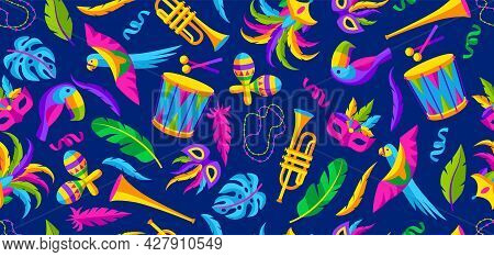 Carnival Party Seamless Pattern With Celebration Icons, Objects And Decor. Mardi Gras Background For
