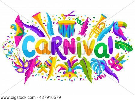 Carnival Party Background With Celebration Icons, Objects And Decor. Mardi Gras Illustration For Tra