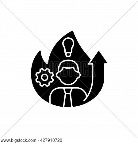 Increased Motivation Black Glyph Icon. Willingness For Career Raise. Career Success. Willpower Behav