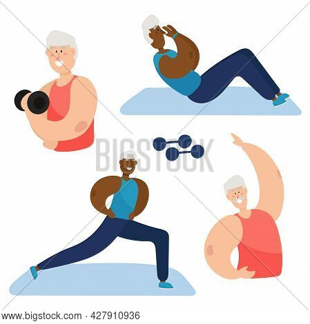 Active Black Grandfather Goes In For Sports. Grandpa Leads A Healthy Lifestyle. Set.