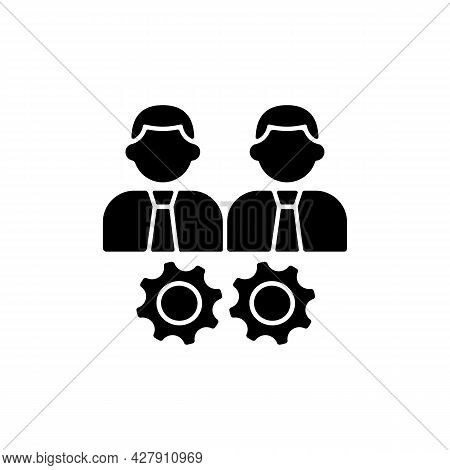 Collaboration Black Glyph Icon. Two Men And Gears. Achieve Goal Working Together. Group Members Inte