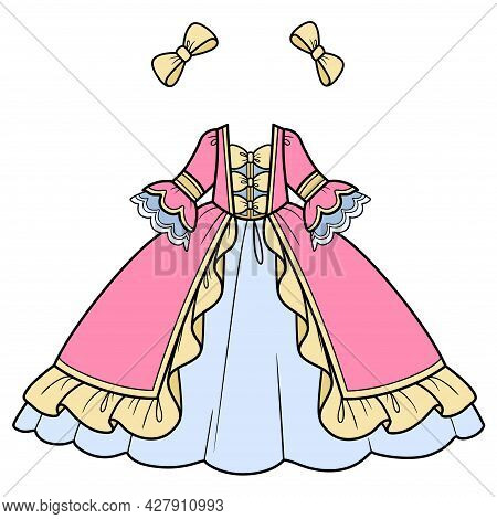 Pink And Blue Ball Gown With Lush Skirt And Bows Color Variation For Coloring Page Isolated On White