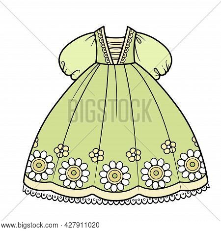 Salad Green Ball Gown With Skirt Embroidered Flowers And Puffy Sleeves For Princess Outfit Color Var