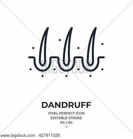 Hair Dandruff Editable Stroke Outline Icon Isolated On White Background Flat Vector Illustration. Pi