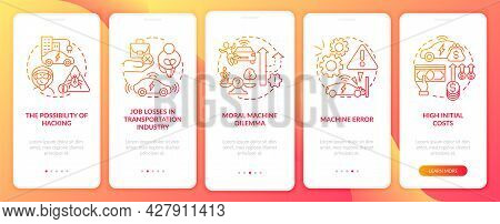 Driverless Cons Onboarding Mobile App Page Screen. Autopilot Disadvantages Walkthrough 5 Steps Graph