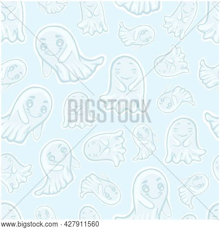 Pattern Seamless Ghosts Cute On Blue Background Spirit Halloween Supernatural Baby Vector Textile Ba