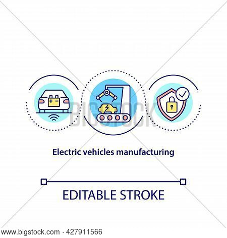 Electric Vehicles Manufacturing Concept Icon. Ev Development Abstract Idea Thin Line Illustration. C