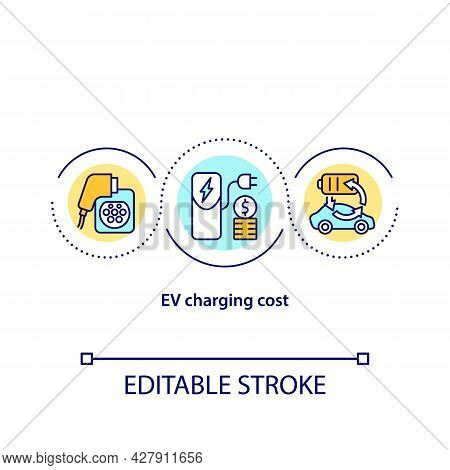 Ev Charging Cost Concept Icon. Electric Car Charging Price Abstract Idea Thin Line Illustration. Eco