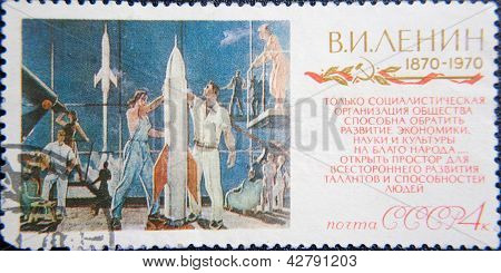 RUSSIA - CIRCA 1970: stamp printed by USSR shows 100 years celebration of Birth socialist Lenin