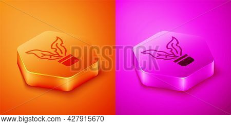 Isometric Plant In Pot Icon Isolated On Orange And Pink Background. Plant Growing In A Pot. Potted P