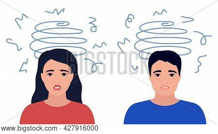 Dizziness, Stress, Sad And Anxious Thoughts Of Man And Woman. Boy And Girl Is Surrounded By Stream O