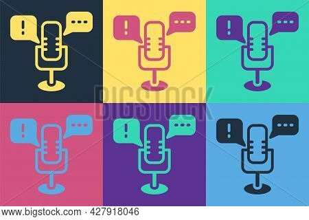 Pop Art Freedom Of Speech Icon Isolated On Color Background. Freedom Of Expression. Vector