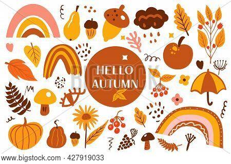 Boho Abstract Autumn Set. Bohemian Autumn Collection Clip Art Hand Drawing Style. Creative Contempor