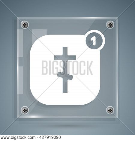 White Online Church Pastor Preaching Video Streaming Icon Isolated On Grey Background. Online Church