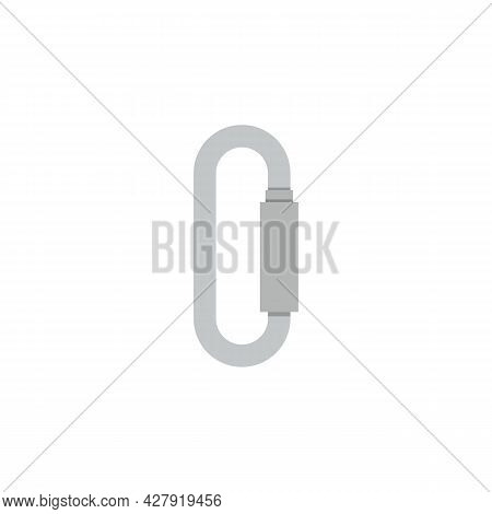 Chrome Metal Climbing Carabiner Flat Vector Illustration Isolated On White.