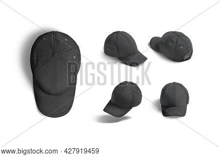 Blank Black Baseball Cap Mock Up, Different Views, 3d Rendering. Empty Sporty Flannel Headgear Mocku