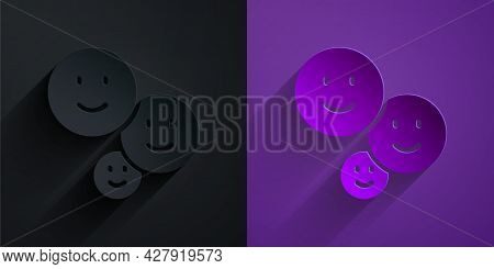 Paper Cut Happy Friendship Day Icon Isolated On Black On Purple Background. Everlasting Friendship C