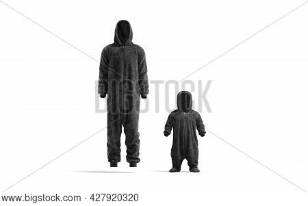 Blank Black Adult And Kid Plush Jumpsuit With Hood Mockup, 3d Rendering. Empty Sleepover Hooded Cost