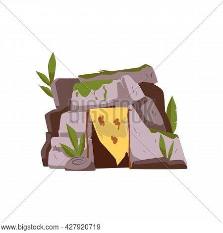 Primitive Neanderthal People Cave, Flat Cartoon Vector Illustration Isolated.