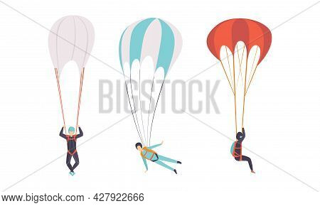 Skydivers Flying With Parachutes, Extreme Sport, Skydiving Cartoon Vector Illustration