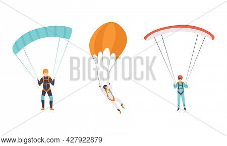 Paratroopers Jumping With Parachutes, Extreme Parachuting Sport, Skydiving Cartoon Vector Illustrati