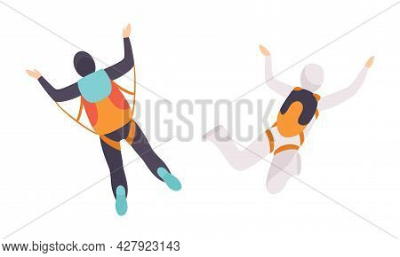 Skydivers Free Fall, Free Jumping, Extreme Sport Cartoon Vector Illustration