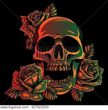 A Human Skulls With Roses On Black Background Vector Illustration
