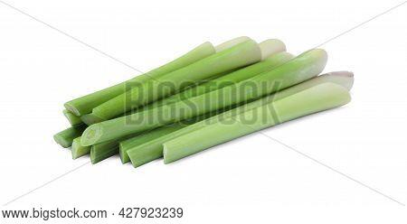 Bunch Of Fresh Lemongrass On White Background