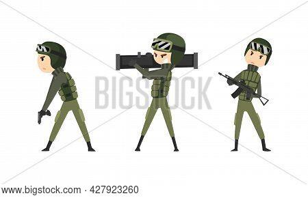 Army Soldiers Set, Men In Camouflage Combat Uniform Fighting With Gun Cartoon Vector Illustration