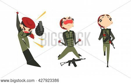 Set Of Army Soldiers, Emotional Men In Camouflage Combat Uniform And Red Beret Fighting With Gun Car