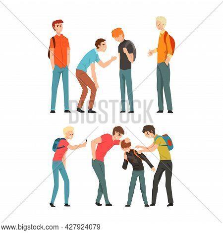 Aggressive Teenagers Bullying Smaller Boys Set, Teenage Aggression And Violence Cartoon Vector Illus