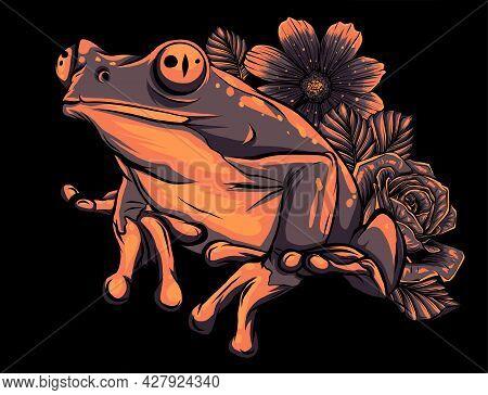 Frog With Flower On Black Background Vector Illustration