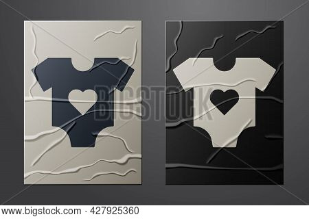 White Baby Clothes Icon Isolated On Crumpled Paper Background. Baby Clothing For Baby Girl And Boy.