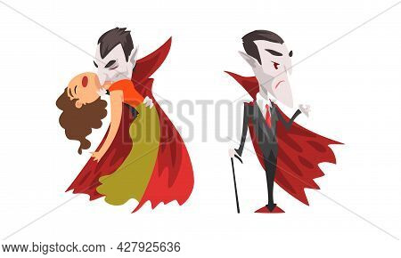 Vampire Set, Count Dracula Character Wearing Black And Red Cape, Happy Halloween Concept Cartoon Vec