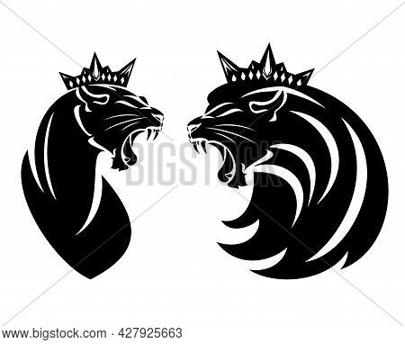 Roaring Lion And Lioness With Royal Crown - King And Queen Leo Head Black And White Vector Design Se